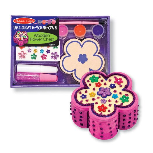 Melissa & Doug Decorate-Your-Own Wooden Flower Chest