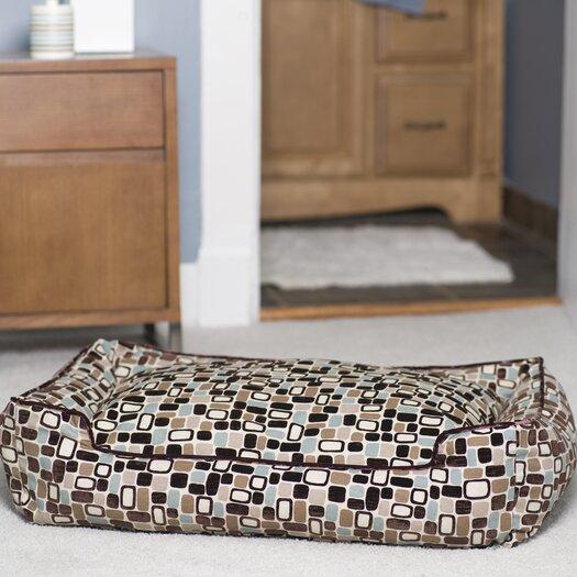 Jax & Bones Flocked Lounge Bolster Dog Bed