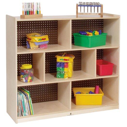 Steffy Wood Products Tall Three Shelf Mobile Storage Unit