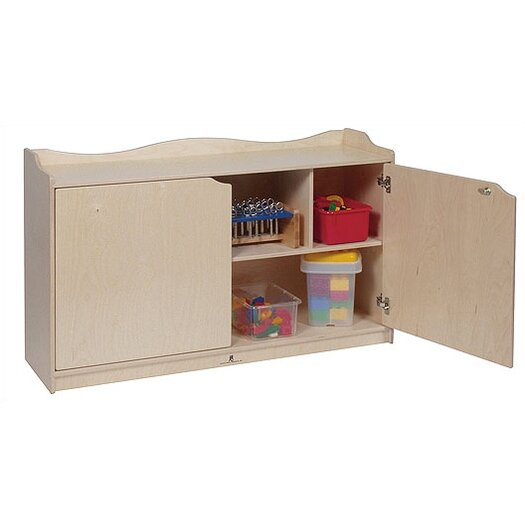 Steffy Wood Products Scalloped Mobile Toddler Storage Unit with Doors