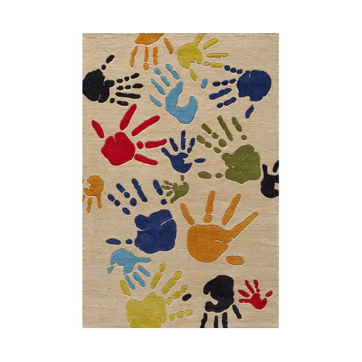 Momeni Lil' Mo Lil Mo Whimsy Ivory Finger Paint Kids Area Rug