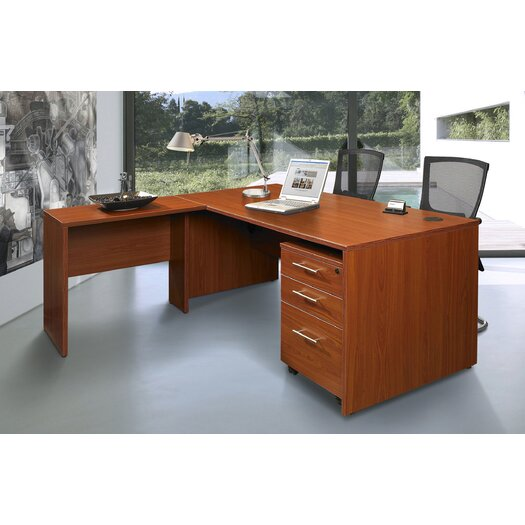 Jesper Office Pro X - L-Shaped Executive Desk with Mobile Pedestal