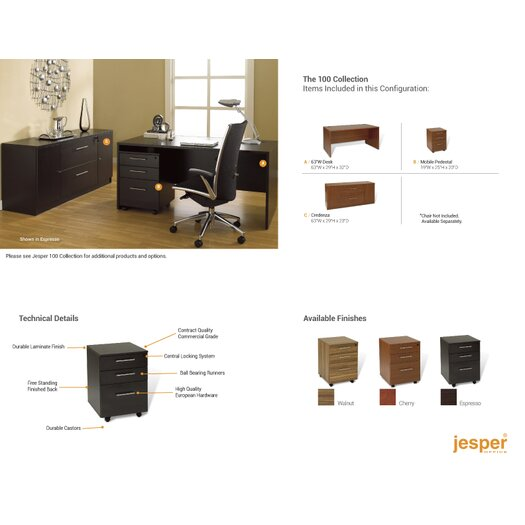 Jesper Office 100 5-Piece Standard Desk Office Suite