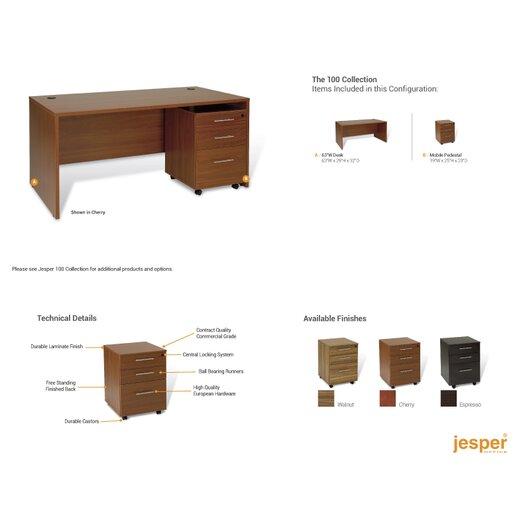 Jesper Office 100 Desk Shell with Mobile Pedestal