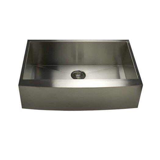 "Nantucket Sinks Pro Series 33"" x 21"" x 10"" Single Bowl Farmhouse Apron Front Stainless Steel Kitchen Sink"