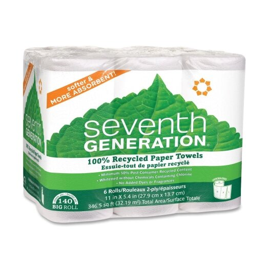 Seventh Generation 2-Ply Paper Towel - 140 Sheets per Roll / 6 Rolls