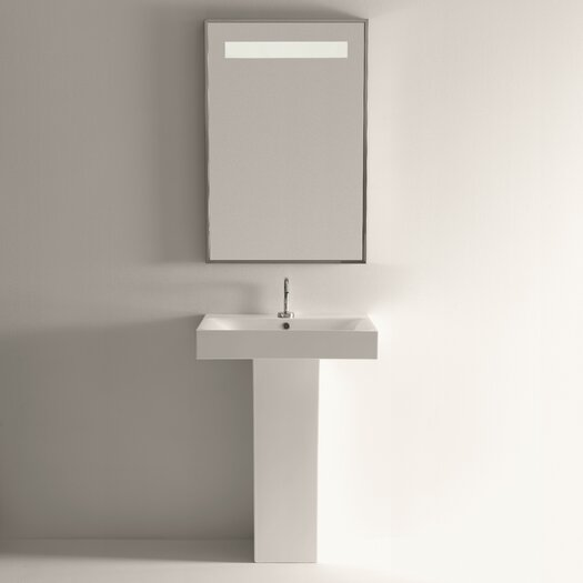 WS Bath Collections Cento Ceramic Bathroom Sink with Pedestal