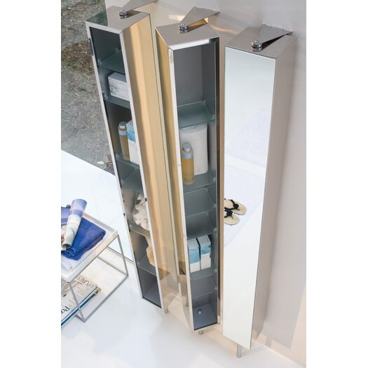 """WS Bath Collections Linea 9.8"""" x 72"""" Mirrored Free Standing Linen Tower"""