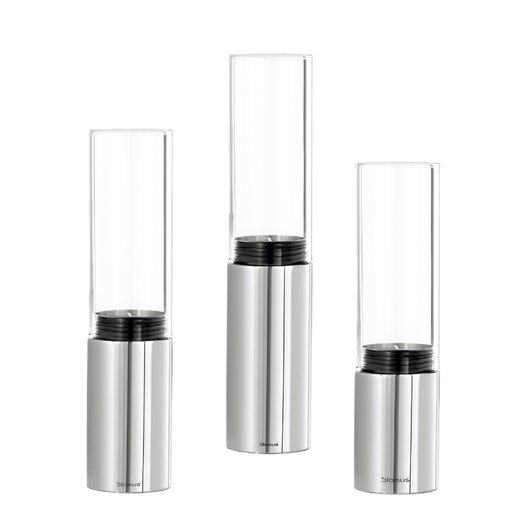 Blomus Faro 6 Piece Stainless Steel & Glass Hurricane Set