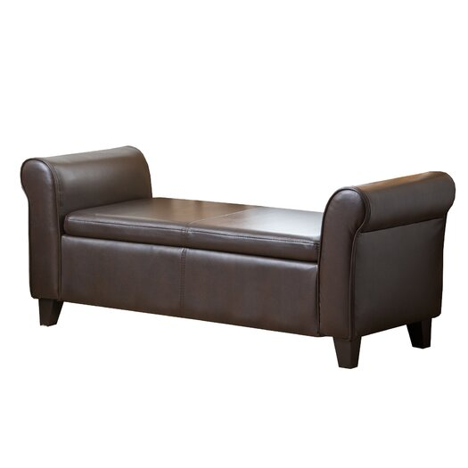 Abbyson Living Easton Leather Bedroom Storage Bench
