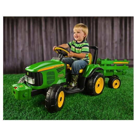 Peg Perego John Deere 12V Battery Powered Tractor with Trailer