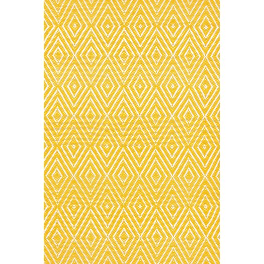 Dash and Albert Rugs Diamond Canary & White Indoor/Outdoor Area Rug