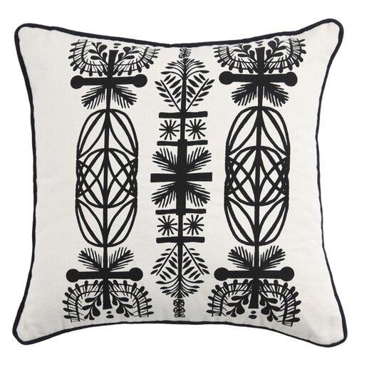 Screen Print Branches Cotton Throw Pillow