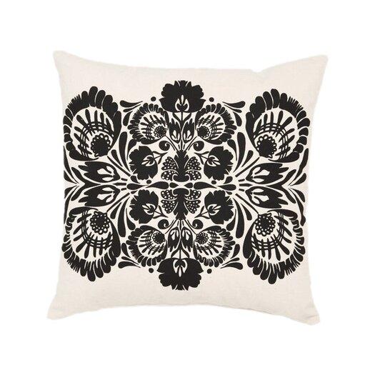 Screen Print Folk Flower Cotton Throw Pillow