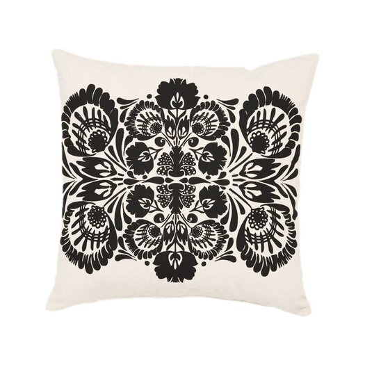 Kreme LLC Screen Print Folk Flower Cotton Throw Pillow
