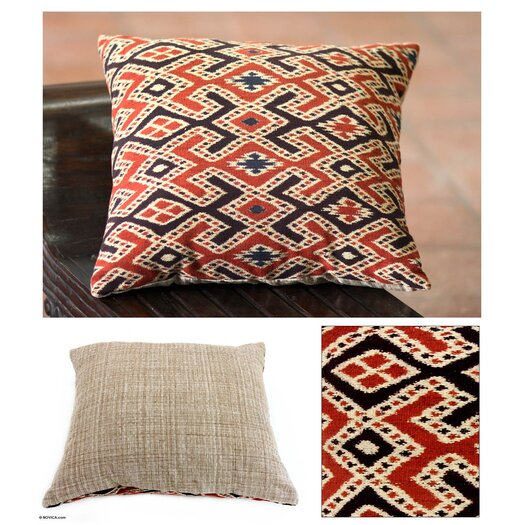 Novica The Threads of Life Handwoven Ikat Cotton Throw Pillow
