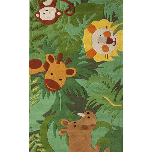 nuLOOM Kinder Safari Friends Green Area Rug