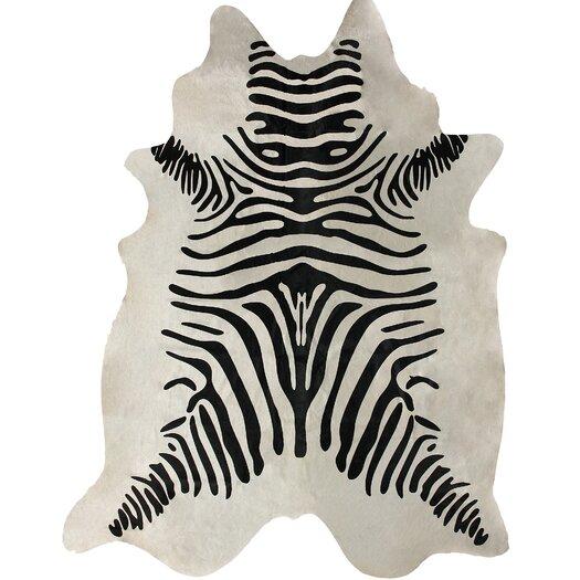 nuLOOM Hides Zebra Print Cowhide Black & White Area Rug