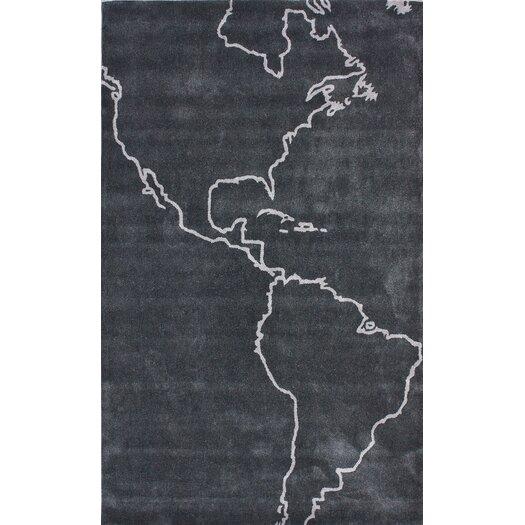 nuLOOM Cine Gray Map Novelty Outdoor Area Rug