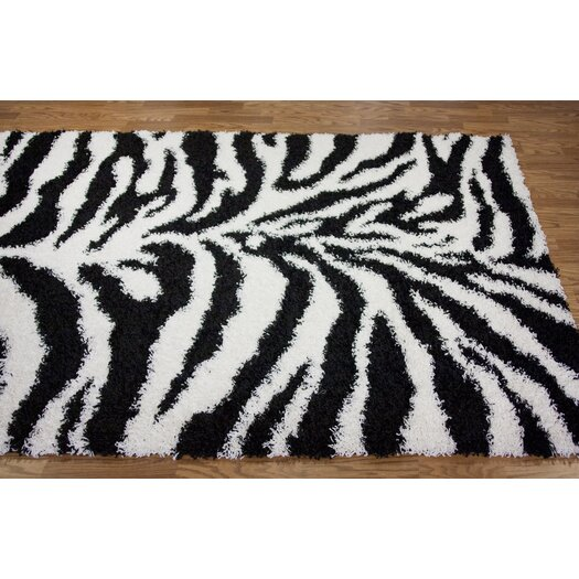 nuLOOM Shaggy Zebra Black/White Area Rug