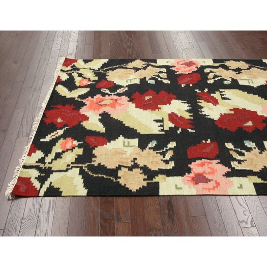 nuLOOM Texture Black Flowers Area Rug
