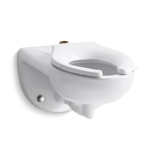 Kingston Wall-Mounted 1.6 or 1.28 GPF Flushometer Valve Toilet Bowl with Top Inlet, Requires Seat Product Photo