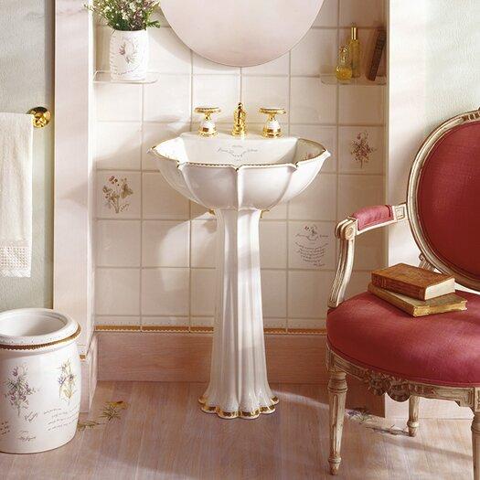 Kohler Prairie Flowers Design on Anatole Pedestal Bathroom Sink