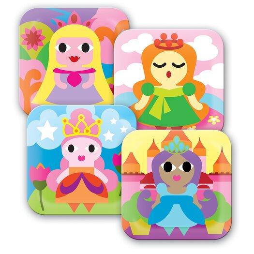 "French Bull Princess 8"" Melamine Kids Plate 4 Piece Set"