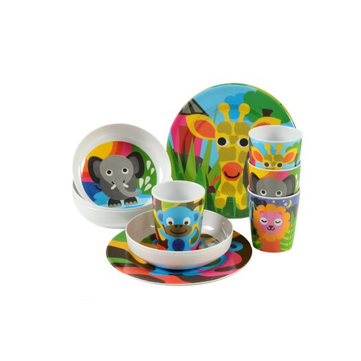 French Bull Jungle Kids Round Plates