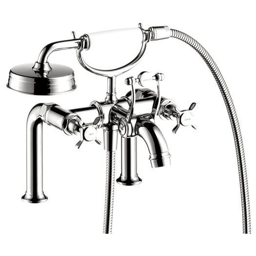 Hansgrohe Axor Montreux Two Handle Deck Mounted Freestanding Tub Filler with Hand Shower