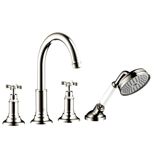 Hansgrohe Axor Montreux Two Handle Deck Mounted Roman Tub Faucet with Hand Shower