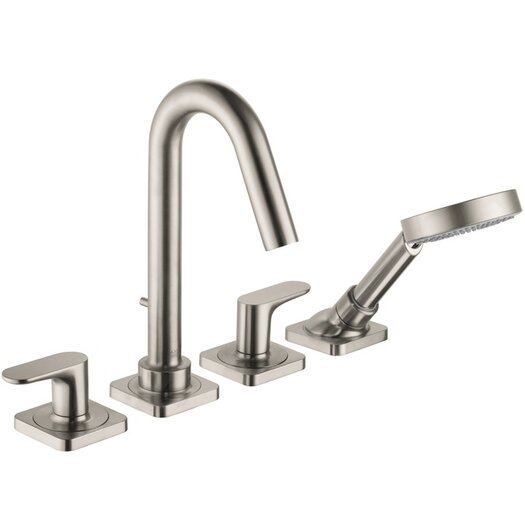 Hansgrohe Axor Citterio M Two Handle Deck Mounted Roman Tub Faucet with Hand Shower
