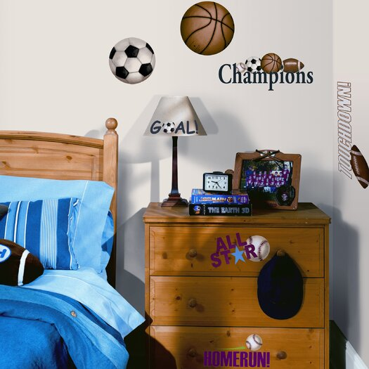 Room Mates Studio Designs 24 Piece Play Ball Wall Decal