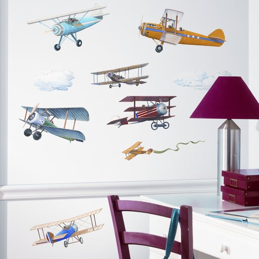 Room Mates Studio Designs 22 Piece Vintage Planes Wall Decal