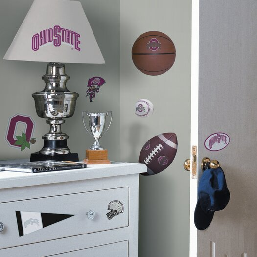 Room Mates Collegiate Sports Appliqué 22 Piece Ohio State Buckeyes Wall Decal