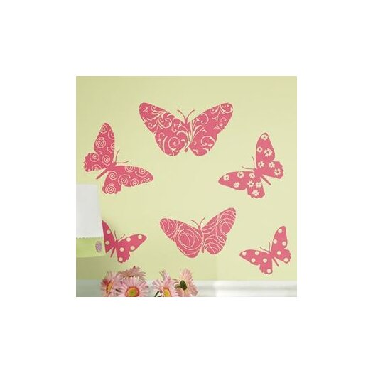 Room Mates Room Mates Deco 10 Piece Flocked Pink Butterfly Wall Decal