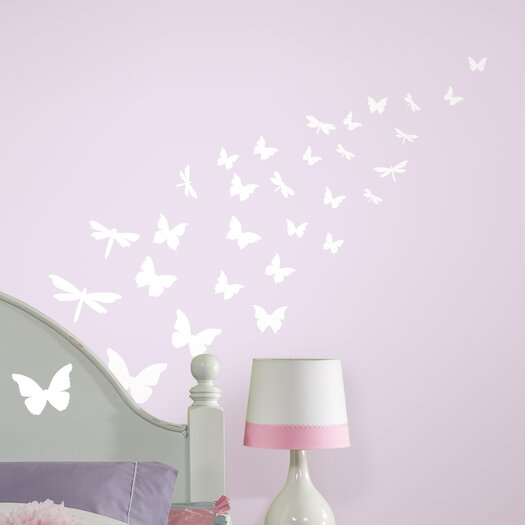 Room Mates Studio Designs Butterfly and Dragonfly Glow in The Dark Wall Decal