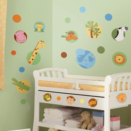 Room Mates Studio Designs Jungle Animal Polka Dot Wall Decal