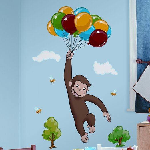 Room Mates Favorite Characters 10 Piece Curious George Giant Wall Decal