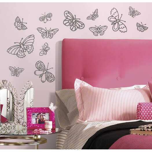 Room Mates Glitter Butterflies Wall Decal