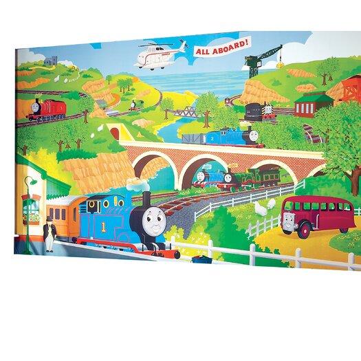 Room Mates Surestrip Thomas the Train Chair Rail Prepasted Wall Mural