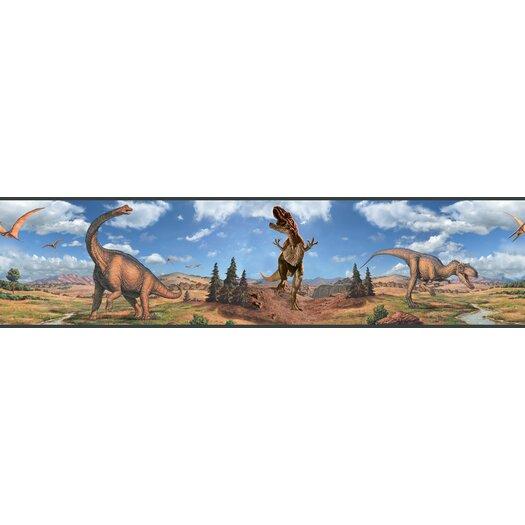 "Room Mates Studio Designs Peel and Stick 15' x 5"" Dinosaur Border Wallpaper"