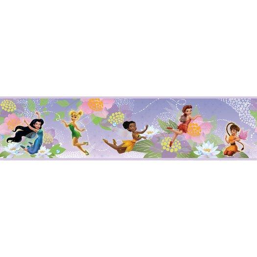 "Room Mates Disney Fairies 6.75' x 1.5"" Floral and Botanical Border Wallpaper"