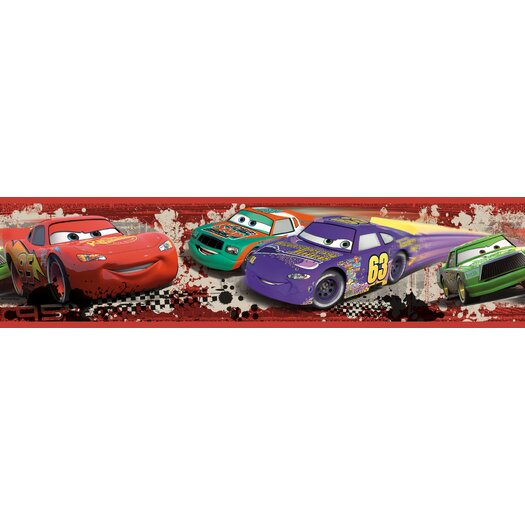 "Room Mates Cars Piston Cup Racing Peel and Stick 18' x 20.5"" Border Wallpaper"