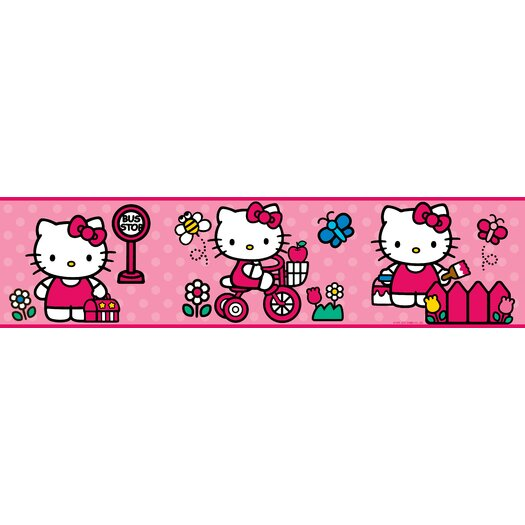 """Room Mates The World of Hello Kitty Peel and Stick 9' x 1.5"""" Border Wallpaper"""
