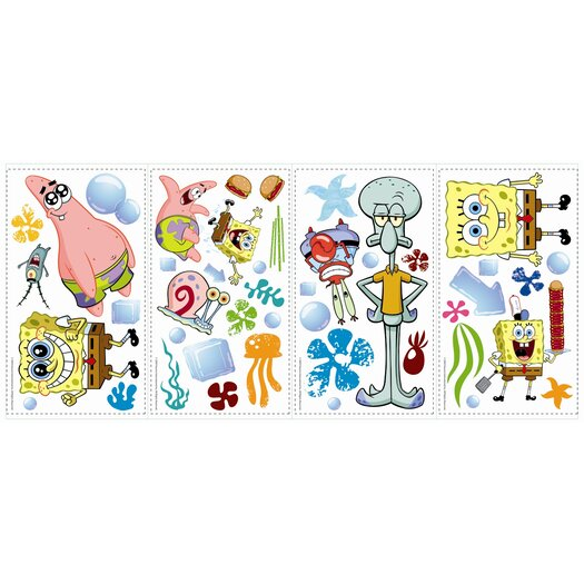 Room Mates Favorite Characters 30 Piece Nickelodeon Sponge Bob Square Pants Wall Decal