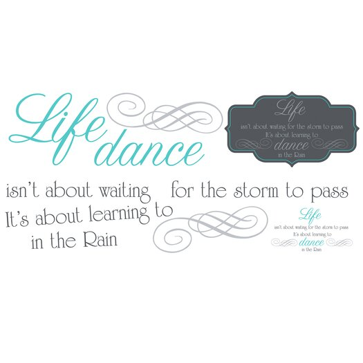 Room Mates Peel and Stick 10 Piece Dance The Rain Quote Wall Decal