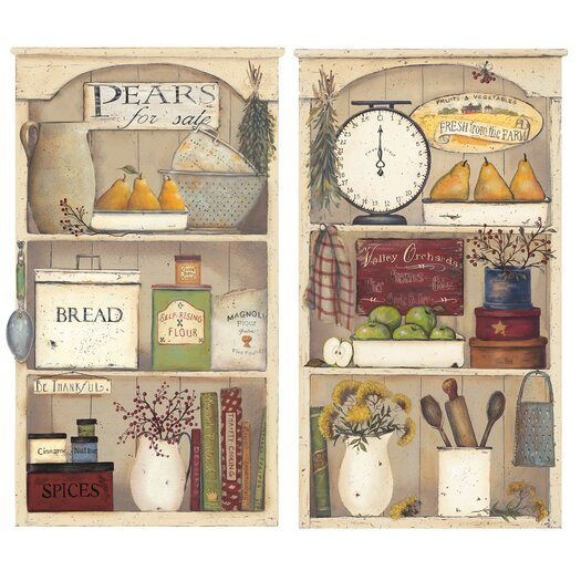 Room Mates Peel and Stick Giant 17 Piece Country Kitchen Shelves Wall Decal