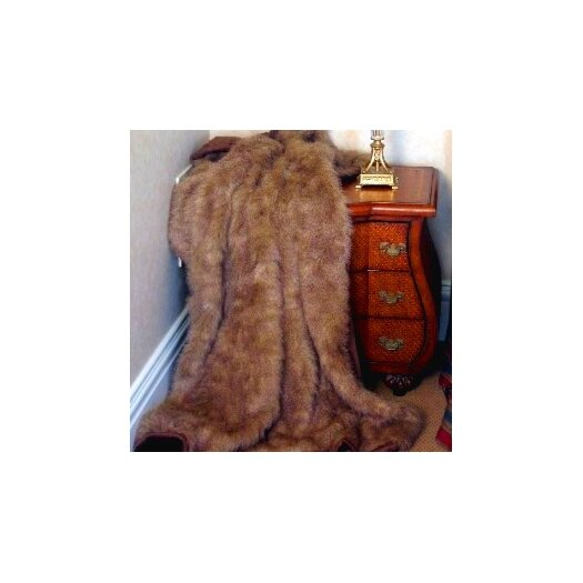 Posh Pelts Raccoon Tail Throw Blanket with Faux Suede Lining