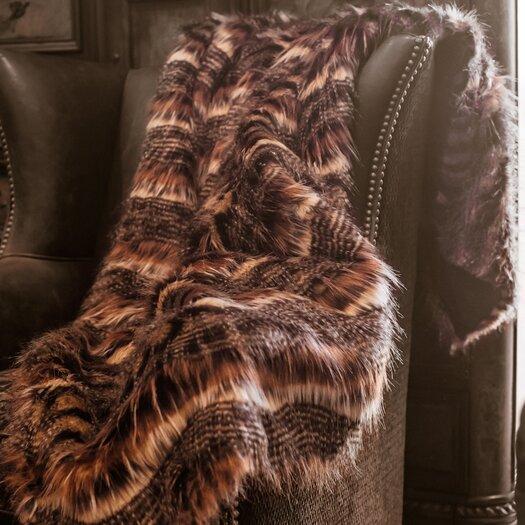 Posh Pelts Red Fox Tail Throw Blanket